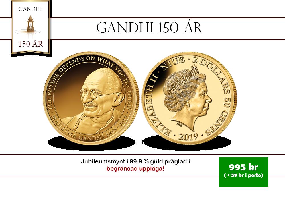 Gandhi firar 150 år med ett guldmynt!