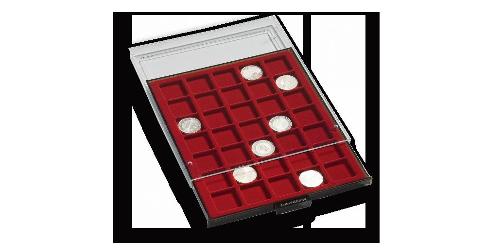 Grå myntlåda med plats för 20 mynthållare / rött inlägg