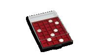 Grå myntlåda med plats för 20 mynthållare / svart inlägg