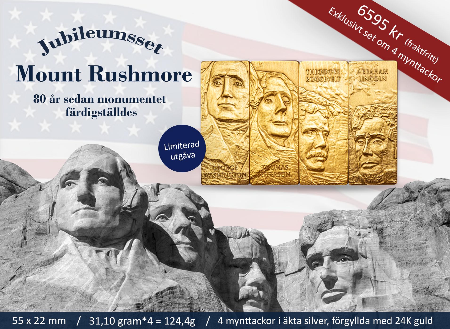En av de mest kända amerikanska landmärkena på fyra imponerande myttackor var och en präglad i ett uns finaste silver