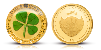 Guldmynt med äkta fyrklöver