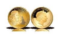 Mynt med Knut den Store i 99,9 % guld