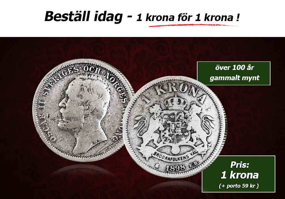 Sveriges första silverkrona för endast 1 krona!