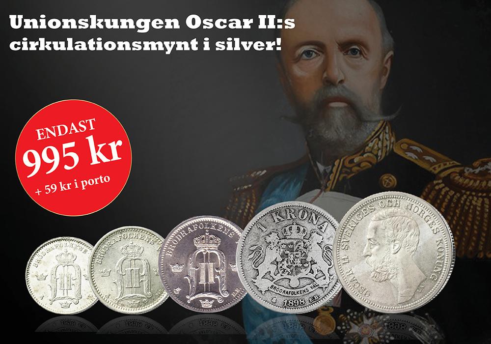 Unionskungen Oscar II:s cirkulationsmynt i silver!