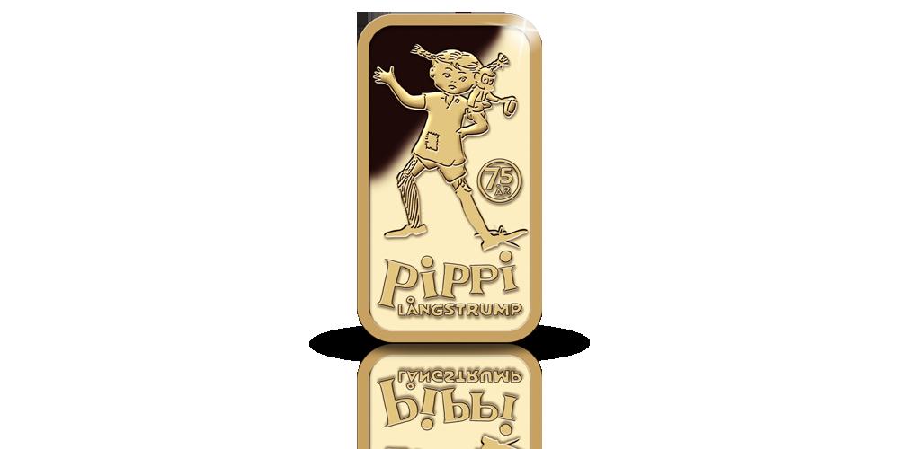 Pippi och Herr Nilsson 2,5 gram guldtacka