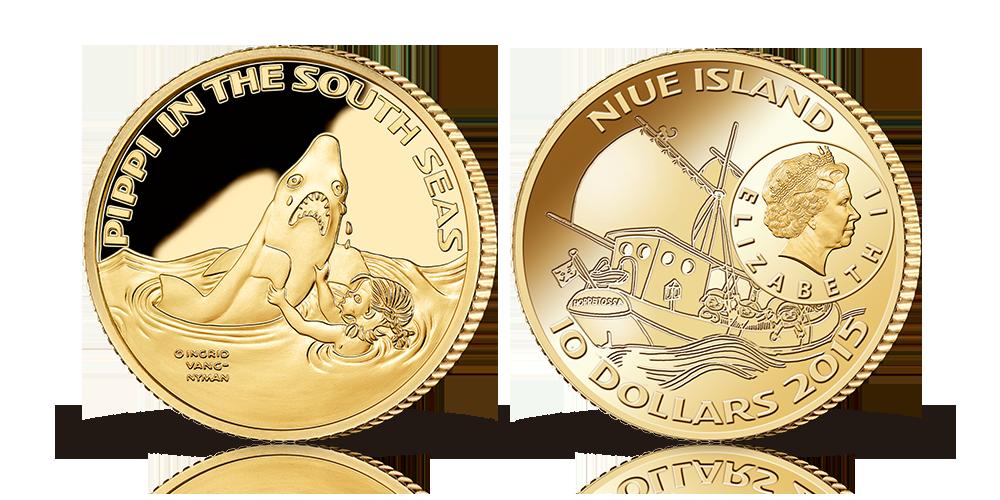 Pippi i Söderhavet i 90 % guld med ett nominellt värde av 10 Dollar och en vikt av 10 gram