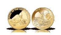 Pippi i Söderhavet 3,45g  mynt i 90 % guld med ett nominellt värde av 5 dollar. Vikt 3,45 gram och 21 mm i diameter