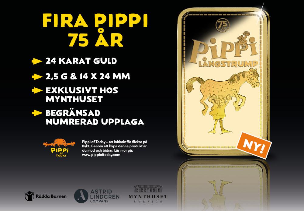 Ny Pippi guldtacka med Lilla Gubben