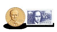 Två i ett - minnesmedalj och ett frimärke som hedrar Raoul Wallenberg