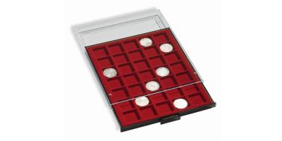 Rökfärgad myntlåda med svart inlägg
