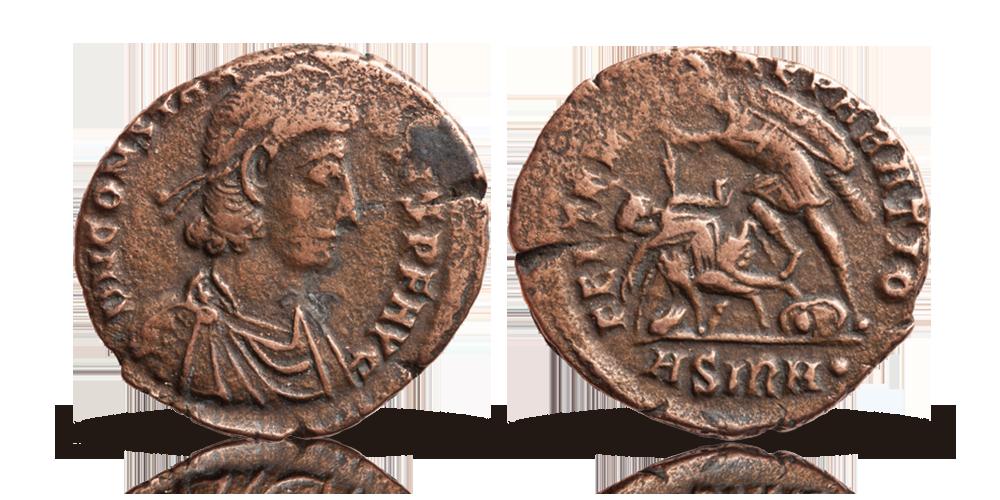 Romerskt originalmynt i brons med krigarmotiv