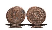 Romerskt originalmynt i brons med krigarmotiv ca 1700 år gammalt