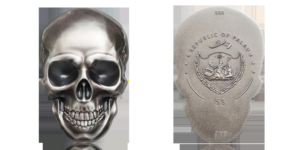 dödskallemynt i 99,9 % silver är stor, väger hela 31,1 gram