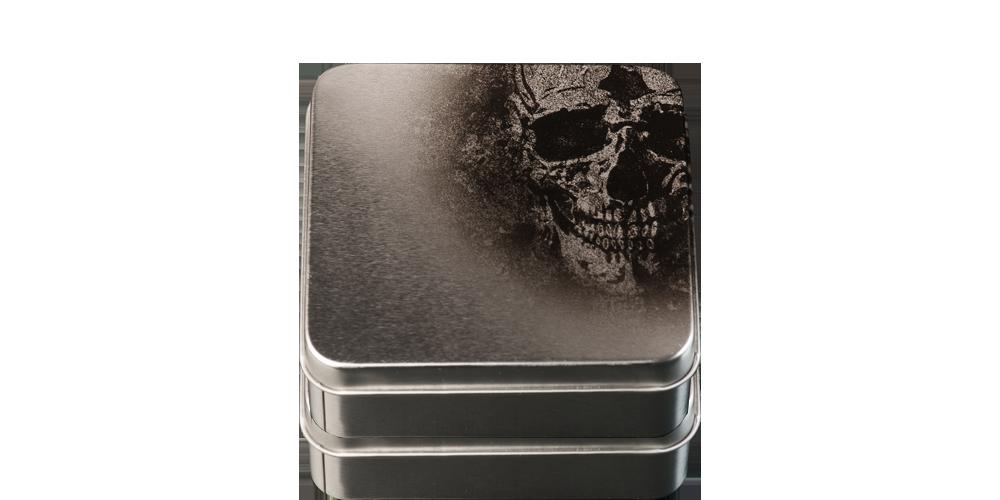 Special designat skrin för dödskallemyntet i 99,9 % silver