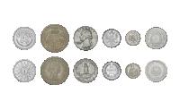 6 silvermynt från 6 kontinenter 1865-1960