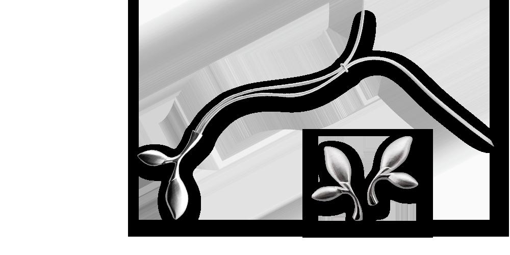 trädknopphängsmycke och örhängen i 92,5 % silver. Klassisk finskdesign designad av Assi Arnimaa-Leinonen