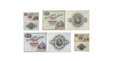 Sittande Svea set med 4 sedlar 1890-1963