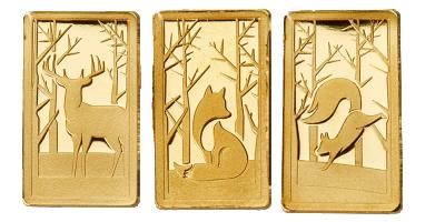 Skogens djur i modern design 3 x 1 gram set