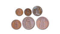 6 mynt med Oscar II