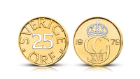 Sveriges sista 25-öring - belagd med guld och platina