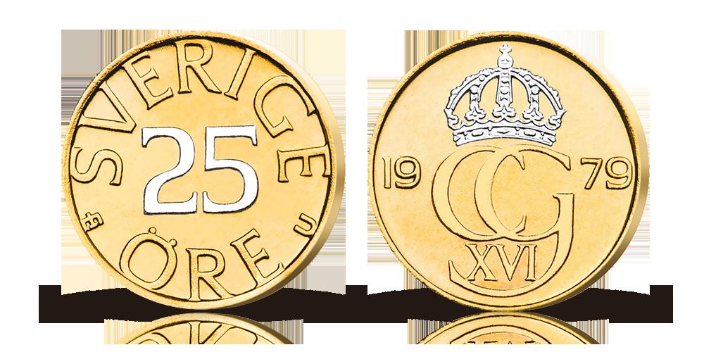 Carl-XVI Gustafs sista 25-oring- belagd med guld och platina