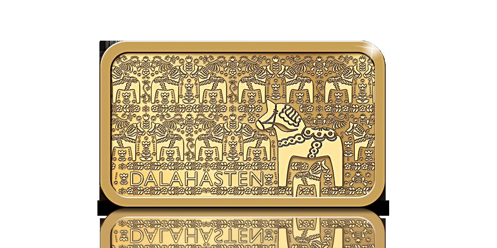Guldtacka med motiv av en dalahäst