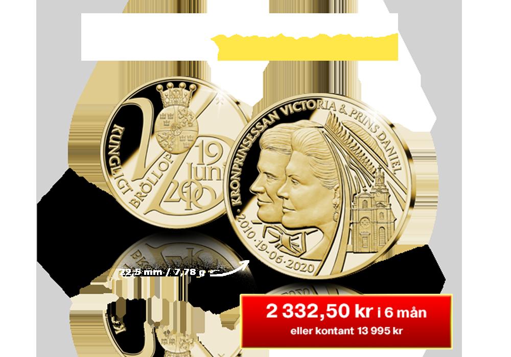Exklusiv jubileumsmedalj i 24 karat guld med Victoria och Daniel