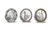 Komplett set med tre vikingamynt i 99,9 % silver