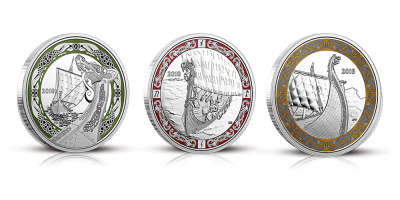 Komplett set mer tre vikingamynt i 99,9 % silver