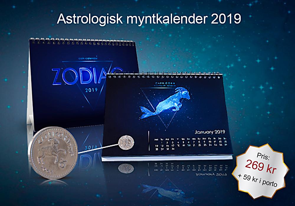 Kalender för 2019 med 12 äkta mynt med motiv av ett stjärntecken - en för varje månad